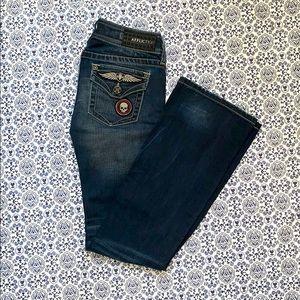 Affliction BLACK PREMIUM distressed boot cut jeans